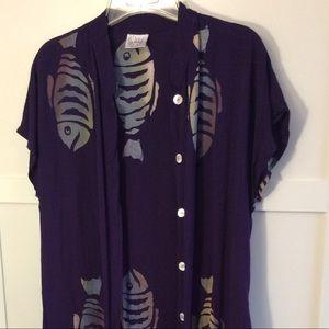 Meng Design Asian Style Tunic L Purple